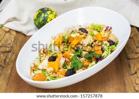 Pumpkin salad. Festive Roast Pumpkin Salad - stock photo