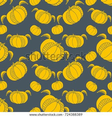 pumpkin seamless pattern cute fun halloween stock illustration