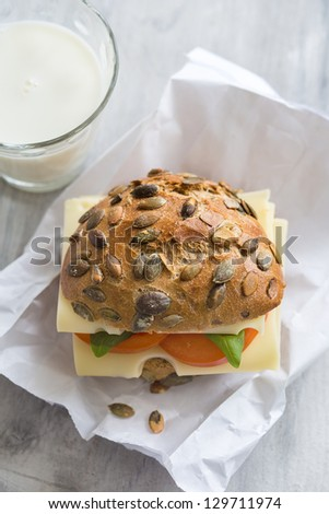 Pumpkin Seed Bread with Cheese, Tomato and Basil - stock photo