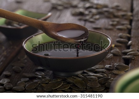 pumpkin seed oil - stock photo