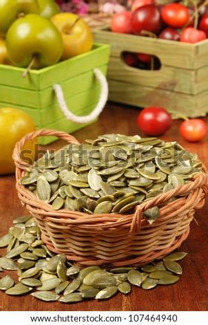 Pumpkin seeds - stock photo