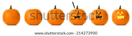 Pumpkin: Series Of  A Jack O Lantern Being Carved For Halloween - stock photo