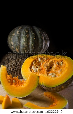 Pumpkin setup on black background