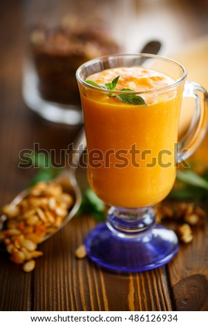 pumpkin smoothie with nuts and honey