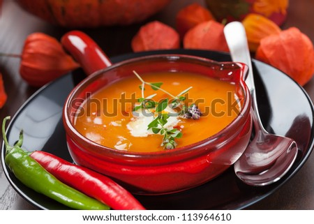 Pumpkin soup with chili for Thanksgiving - stock photo