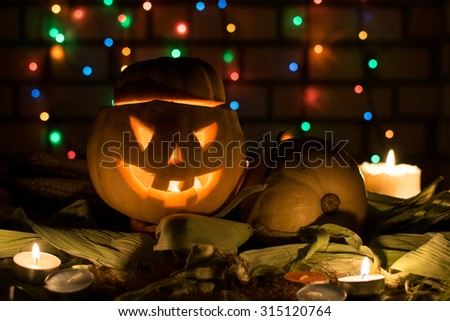 pumpkin still life and for a holiday, Halloween. - stock photo