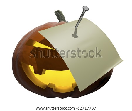 Pumpkin-style halloween with paper for notes