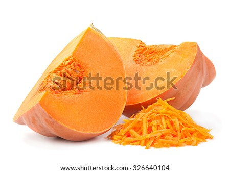 Pumpkin vegetable chopped isolated on white background - stock photo
