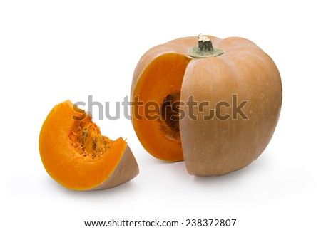 Pumpkin with a slice on white background