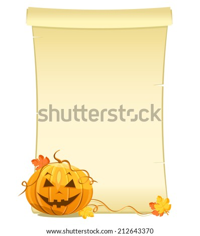 pumpkin with blank sheet of paper - stock photo