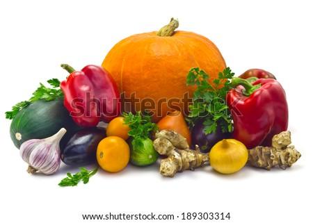 pumpkin, zucchini, cucumber, eggplant, parsley, Jerusalem artichoke, onions, garlic  and a sweet pepper isolated on white background - stock photo