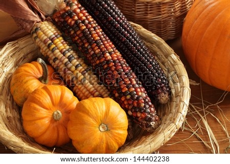 Pumpkins and indian corn arrangement. - stock photo