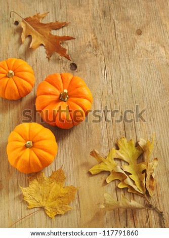 Pumpkins and leaves on the wooden background - stock photo