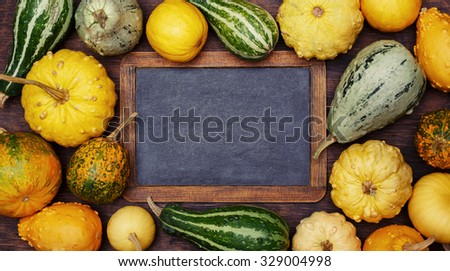 Pumpkins and Vintage blackboard with copyspace. Thanksgiving day concept - stock photo