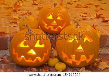 Pumpkins carved for Halloween - stock photo