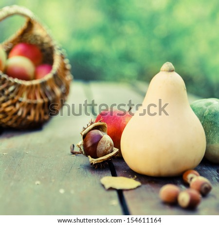 Pumpkins, jam, nuts and basket with apples on garden table - stock photo