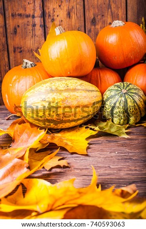 Pumpkins on a wooden table with colorful leaves