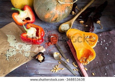 Pumpkins, red pepper and the ingredients for a gourmet vegetarian soup - stock photo