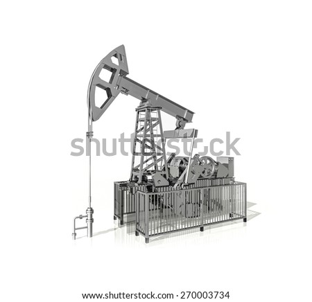 Pumps for oil, 3d illustration on a white background - stock photo