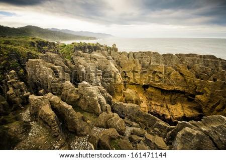 Punakaiki Pancake Rocks, West Coast, New Zealand  - stock photo