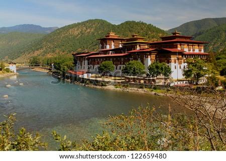 Punakha Dzong (Palace of Great Happiness), Bhutan - stock photo
