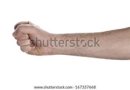 punch fist isolated on a white background - stock photo