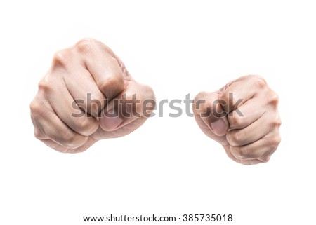punch fists isolated on white background - stock photo