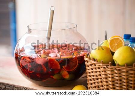 punch fruit-drink fruit beverage mulled wine - stock photo