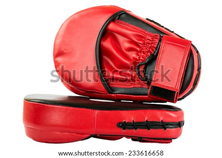 Punch mitts isolated on white background for boxing, red