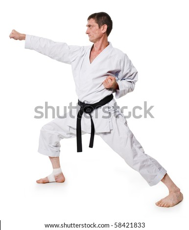 punch.shock.figure in the karate fighting stance on a white background.hand-to-hand fighting - stock photo
