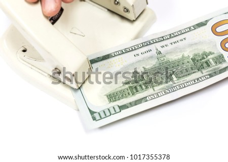Punches piers paper. Process of staples money dollar.
