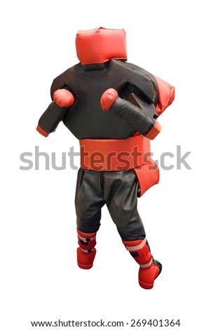 Punching bag - mannequin wrestling - stock photo