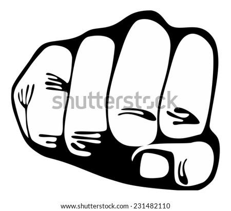 Punching  power fist - Stock Image black on white - stock photo