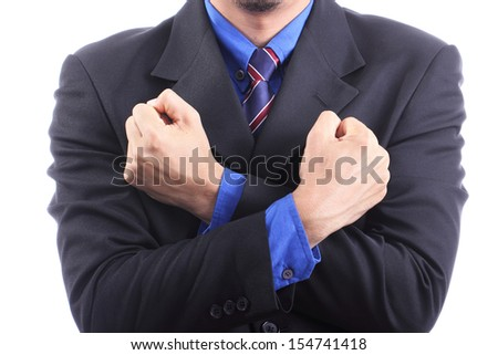punching though problem for show concept solve problem with white background - stock photo
