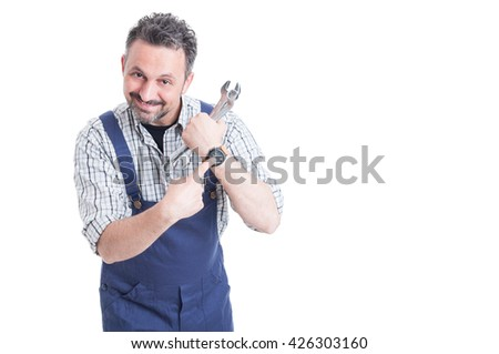 Punctuality concept with cheerful mechanic showing his wrist watch with copyspace isolated on white - stock photo