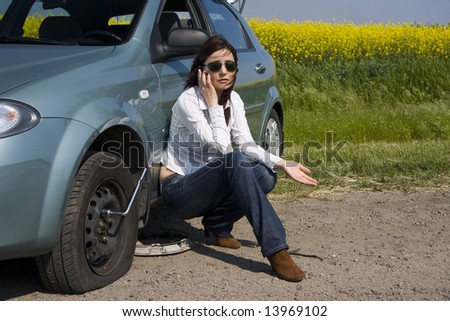 punctured tire - stock photo