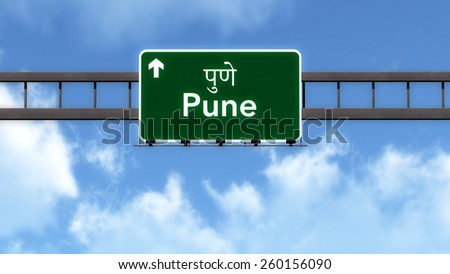 Pune India Highway Road Sign - stock photo