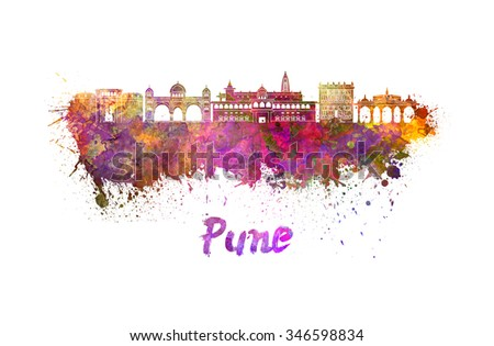 Pune skyline in watercolor splatters with clipping path - stock photo