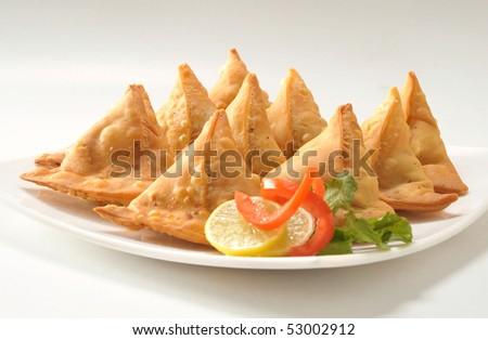 Punjabi Samosa Closeup - stock photo