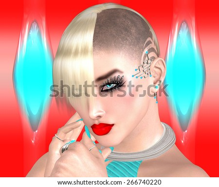 Punk girl with Mohawk hairstyle on colorful abstract background. Futuristic cosmetics, jewelry and hair all come together with a vogue pose against a colorful abstract background of turquoise and red. - stock photo