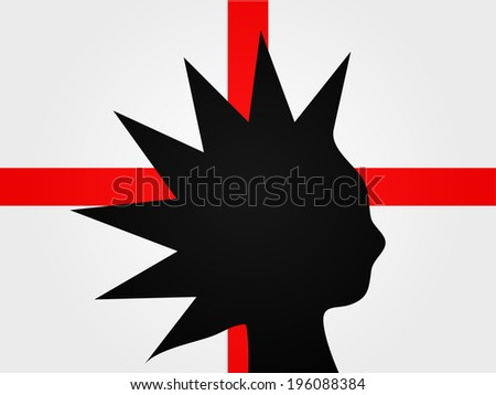 Punk Silhouette over the English Flag - stock photo