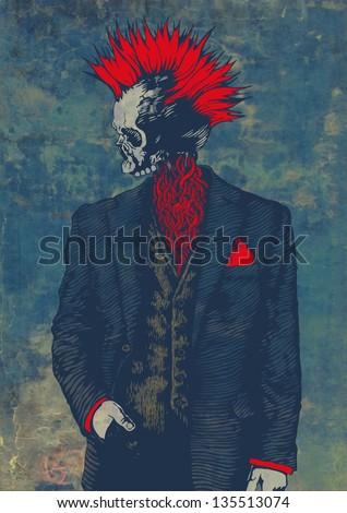 punk skeleton. raster version. vector available in my portfolio - stock photo
