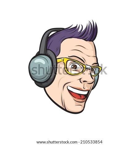 punk with headphones on white background - stock photo
