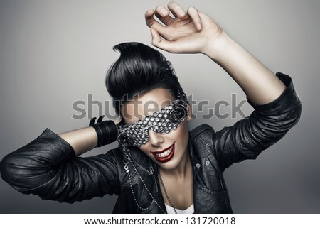punk woman in creative glasses - stock photo