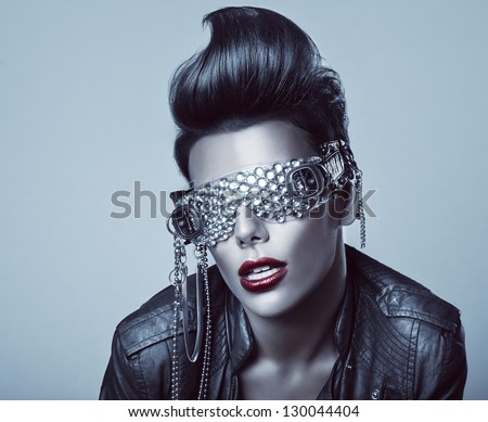 punk woman with interesting glasses - stock photo