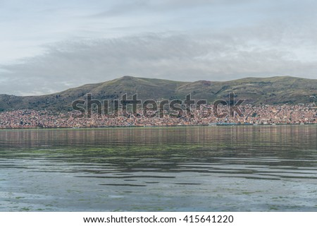Puno city from Lake titicaca, Peru