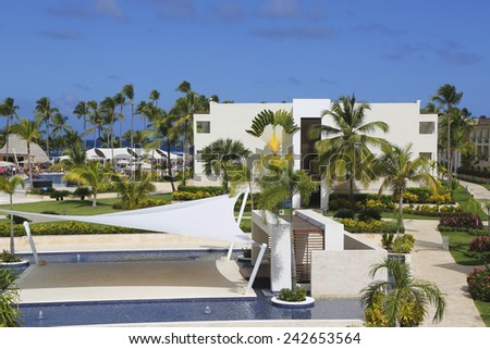 PUNTA CANA, DOMINICAN REPUBLIC - DECEMBER 31, 2014: Royalton All-inclusive Resort and Casino located at the Bavaro beach in Punta Cana