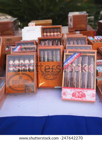PUNTA CANA, DOMINICAN REPUBLIC - JANUARY 2, 2015: Boxes of Dominican cigars on display in Punta Cana
