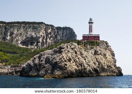 Punta Carena Lighthouse, Capri, Italy. - stock photo