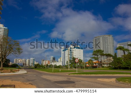 PUNTA DEL ESTE, URUGUAY - MAY 06, 2016: some new buildings in a street close to the beach
